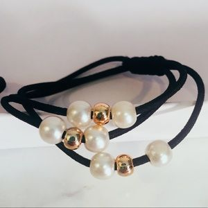 Accessories - Set of 8 Faux Pearl & Gold Bead Hair Ties